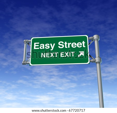 Easy street Freeway Exit Sign highway street symbol green signage road symbol