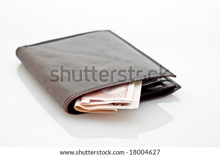 Easy to isolate on white wallet with money