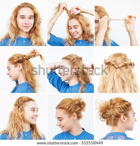 easy tutorial for medium to long curly hair by beauty blogger - stock photo