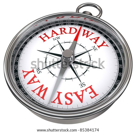 easy versus hard way dilemma concept compass with red letters isolated on white background - stock photo