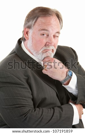 Easygoing mature man with beard over white background - stock photo