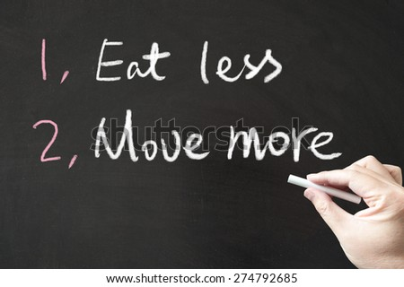 Eat less and move more words written on the blackboard using chalk - stock photo