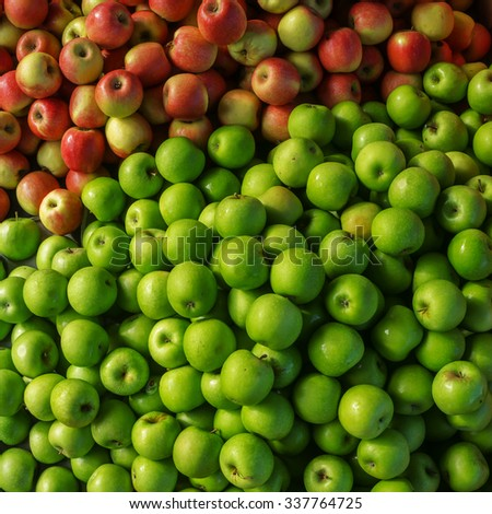 Eat More Green Combination of green and red apples where the green apples are more dominance in a frame - stock photo