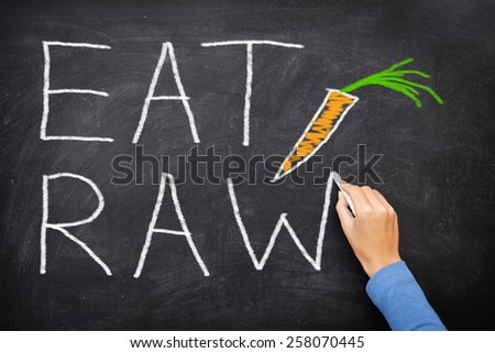 EAT RAW words written on blackboard - new trend in nutrition. The raw food diet consist of eating only uncooked, unprocessed generally vegetables and fruits, often in the form of smoothies and juices. - stock photo