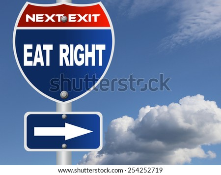 Eat right road sign