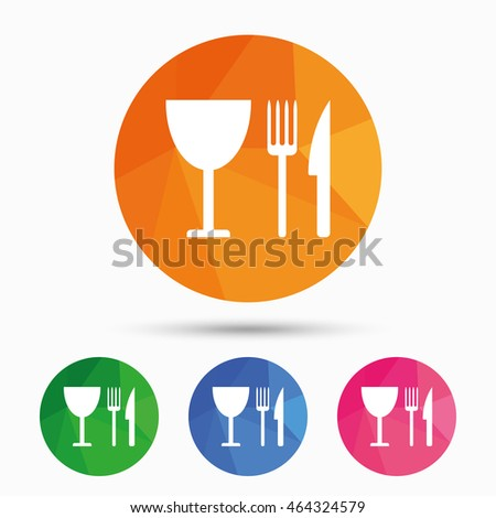 Eat sign icon. Cutlery symbol. Knife, fork and wineglass. Triangular low poly button with flat icon.