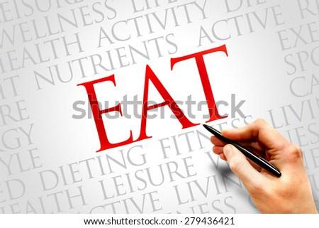 EAT word cloud, fitness, sport, health concept - stock photo