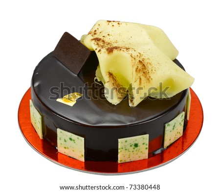 Eatable chocolate cake topping with the white chocolate - stock photo
