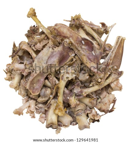 eaten chicken bones texture close-up - stock photo