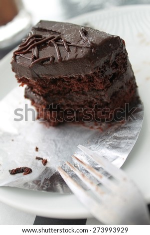 Eaten chocolate cake, so sweet and delicious one  - stock photo