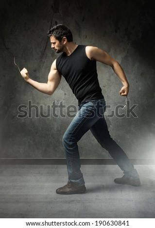 eater ready to fight with forks - stock photo