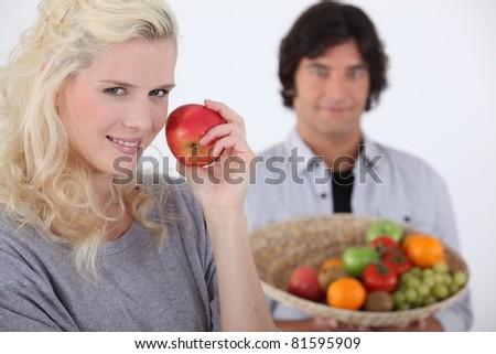 eating apple - stock photo