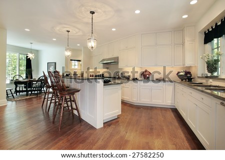 Eating area and island in kitchen