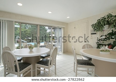 Eating area of kitchen with view of back yard