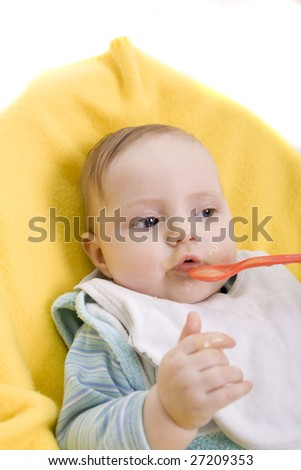 Eating baby on a white background - stock photo