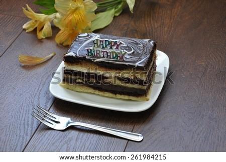 Eating birthday cake - stock photo