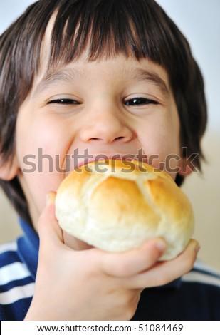 eating bread - stock photo