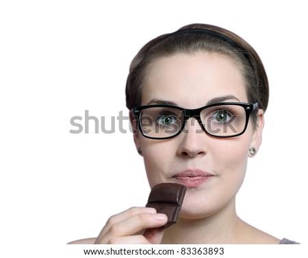eating chocolate - stock photo