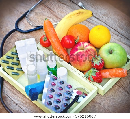 Eating healthy food - Health depends on your diet - stock photo
