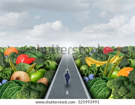 Eating healthy path concept as a person walking on a road with fruits and vegetables as an agriculture metaphor for organic market fresh health food or genetically modified produce. - stock photo