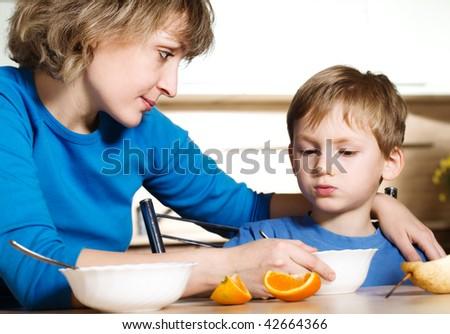 Eating of child - stock photo