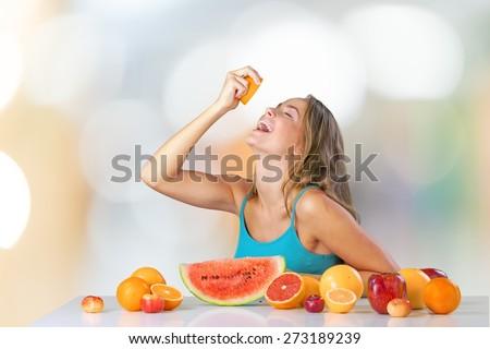 Eating, Women, Fruit. - stock photo