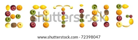 Eating word made of different of fruits