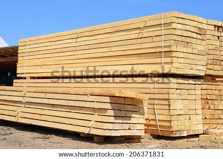 Eaves board in stacks - stock photo