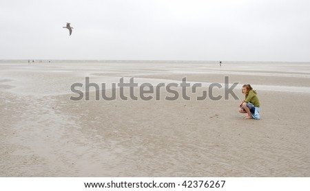 Ebb in North-Sea, Germany - St.Peter-Ording - stock photo