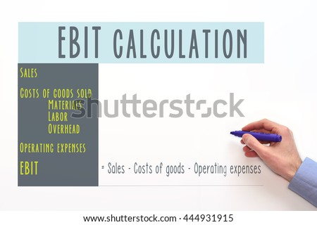 EBIT. accounting and finance. earnings before interest and taxes. EBIT calculation, EBIT formula - stock photo