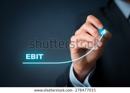 EBIT (Earnings before interest and tax) growth concept. Businessman draw graph with growing EBITDA. - stock photo