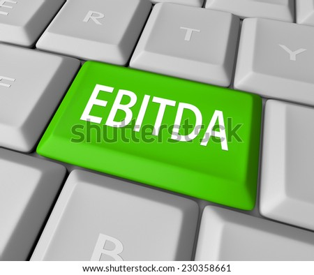 EBITDA word acronym on a computer keyboard key or button to calculate profit, revenues and earnings before interest, tax, depreciation and amortization - stock photo
