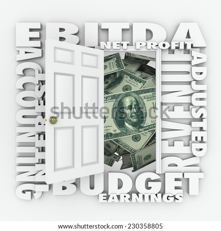EBITDA word acronym on an open door to illustrate budget or accounting practices to report profit, revenues and earnings before interest, tax, depreciation and amortization - stock photo