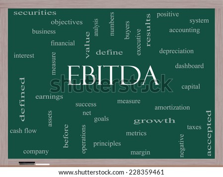 EBITDA Word Cloud Concept on a Blackboard with great terms such as earnings, before, taxes, interest and more. - stock photo