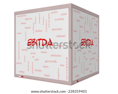 EBITDA Word Cloud Concept on a 3D cube Whiteboard with great terms such as earnings, before, taxes, interest and more. - stock photo