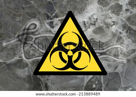 Ebola virus seen under a microscope with epidemic sign - stock photo