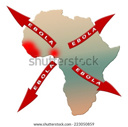 Ebola virus worldwide spread from Africa on an isolated white background with a clipping path - stock photo