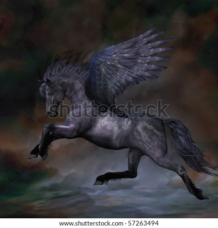 EBONY - A beautiful black Pegasus stallion flies over the misty water. - stock photo