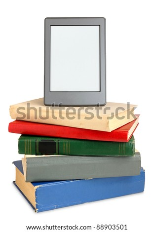 Ebook on pile of old books isolated on white background - stock photo