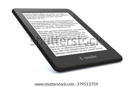 ebook reader on white background, the text on the screen is the Lorem Ipsum (3d render) - stock photo