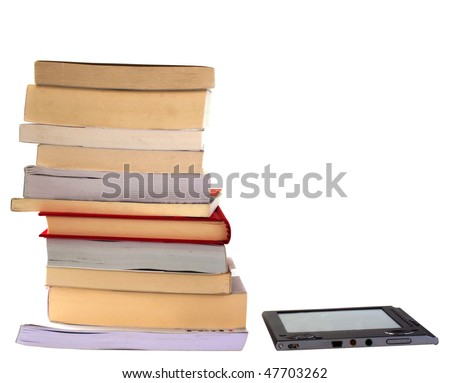 eBook reader side by side with big pile of books, isolated on white - stock photo