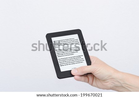 ebook reader with english text - stock photo
