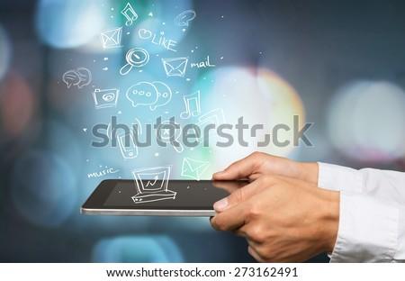 Ebook, user, tablet. - stock photo