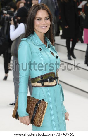 Ebru Salli arriving for the Burberry Prorsum fashion show as part of London Fashion Week 2012 A/W in Kensington Gardens, London. 20/02/2012 Picture by: Steve Vas / Featureflash - stock photo