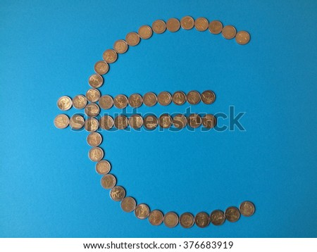 EC currency symbol (photo take it with mobile phone) - stock photo