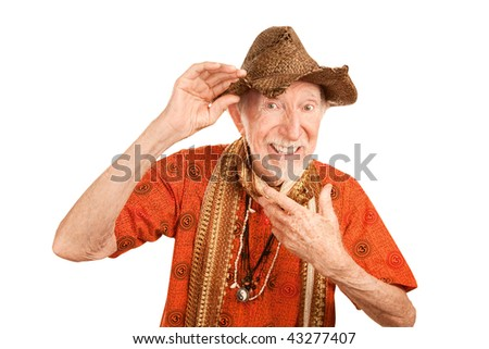Eccentric handsome senior man in shirt with ohm symbol and straw hat - stock photo
