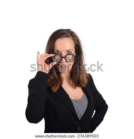 Eccentric nerd math teacher asks the students - stock photo