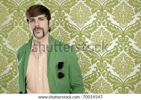 eccentric retro mustache geek man salesperson sixties seventies - stock photo