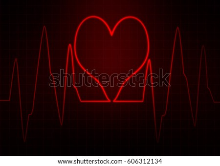 Red Heart Abstract Pulse Image Wallpaper