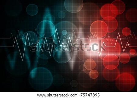 ecg pattern over abstract gradient colorful background - stock photo